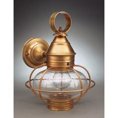 Northeast Lantern Onion 1 Light Outdoor Wall Lantern Finish: Dark Brass, Shade Type: Frosted