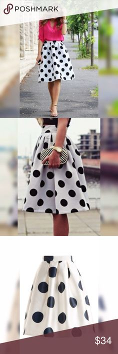"🆕 Listing: Polka Dot Skirt 💕 POLKA DOT TAFFETA PLEATED SKIRT WITH BACK ZIPPER 😍 100% POLYESTER. IMPORTED 🤗                              ****SMALL:  24"" LONG  12"" WAIST  34"" HEM WIDTH**** Skirts Midi"