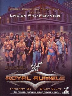 The main event was the Royal Rumble match, which Steve Austin won by last eliminating Kane to win the match, making it his third Royal Rumble win, the first person to ever do so in WWF history. The match also saw Drew Carey enter the Royal Rumble Wrestling Posters, Wrestling Wwe, Wrestling Rules, Royal Rumble 2001, Figuras Wwe, Wwe Events, Attitude Era, Wwe Ppv, Catch