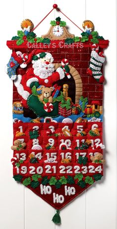 Bucilla Must Be Santa Advent Calendar - Felt Applique Kit 86312 Felt Advent Calendar, Christmas Tree Advent Calendar, Christmas Countdown, Advent Calendars, Calendar Wall, Countdown Calendar, Calendar Ideas, Days To Christmas, Felt Christmas