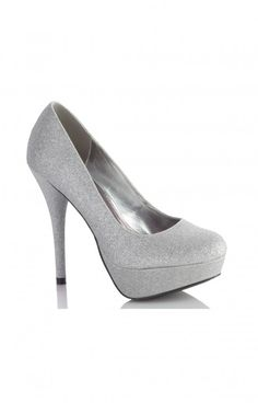 Beautiful Coloriffics pumps covered in silver glitter.  Perfect for prom or homecoming! These 5 inch heels will show off your sun kissed legs with the perfect touch of class!