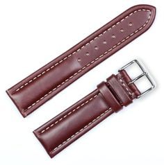 Breitling Style Oil Tanned Leather Watchband Brown 22mm Watch band - by deBeer