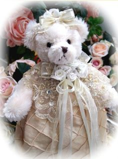 Gilded Opulence Collectible Victorian Teddy Bear Close View