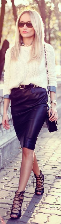 Leather skirt, beige sweater and denim shirt