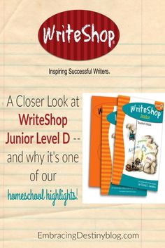 A peek inside WriteShop Junior Level D and why we love to use it in our homeschool. Inspire creative writing with these lessons -- even if your kids are reluctant writers. embracingdestinyblog.com