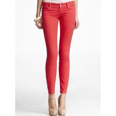 "Sunset coral Zelda Jean legging Sweet and low on your hips, long and lean on your legs. The slim fit of Zelda brings out your sexy shape.  Slim fit, low rise.  Five-pocket styling, button closure with zip fly Inseam: 32"" 10"" leg opening Cotton/Spandex Machine wash Imported Express Jeans Skinny"