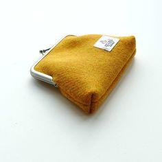 Yellow Harris Tweed Purse, card holder, change purse, coin purse £20.00 Harris Tweed, Change Purse, Mustard, Zip Around Wallet, Coin Purse, March, Card Holder, Handmade Items, Joy