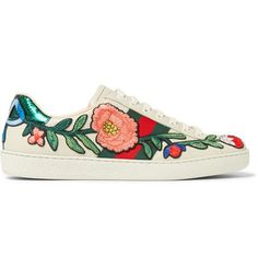 da8a3a231 GUCCI Ace Appliquéd Snake-Trimmed Leather Sneakers. #gucci #shoes #sneakers