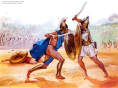 -0361 c.  Staged combat between an Eleian and an Arcadian hoplite, 36BCE. Artwork by Angus McBride