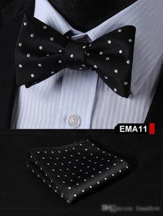 Black, Silver Floral 100% Silk Butterfly Tie Self Tie Bow Tie Pocket Square Bow tie Set