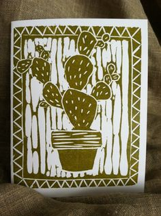 Items similar to Potted Cactus Linoleum Block Printed Card on Etsy Woodcut Art, Linocut Prints, Art Prints, Block Prints, Ink Block, Linoleum Block Printing, Classroom Art Projects, Cactus Art, Tampons
