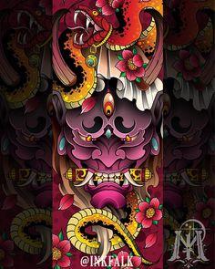 Hannya (般) 👹 Las máscaras hannya son representadas como demonios de mujeres consumidas por sus celos. Japanese Tattoo Designs, Japanese Tattoo Art, Japanese Sleeve Tattoos, Japanese Art, Hannya Mask Tattoo, Hanya Tattoo, Irezumi Tattoos, Leg Tattoos, Tattoo Mascara