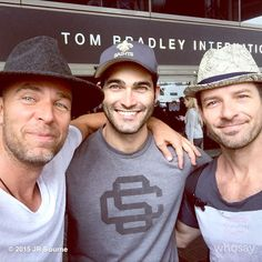 Happy Canada Day!! From my american friends @IanBohen @TylerL_Hoechlin and I. #parisbound #prisonschangedyou #hatsmaketheman