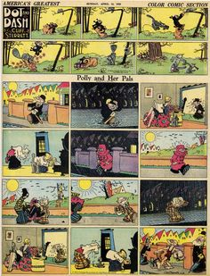 """thebristolboard: """"Classic Polly and Her Pals Sunday strip by Cliff Sterrett, April From America's Greatest Comic-Strip Artists by Rick Marschall. Published by Abbeville Press, """" Sunday Newspaper, Flash Gordon, Bristol Board, Classic Comics, Vintage Cartoon, American Comics, Comic Strips, Graphic Art, Pin Up"""