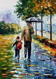 By the Rain by Leonid Afremov
