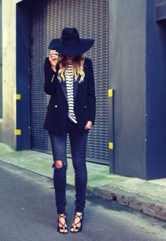 Navy + black jeans