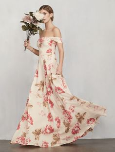 Off The Shoulder Cream Floral Dress (REFORMATION). Long & Short Bridesmaid dresses (and jumpsuits) in colors perfect for any fall/winter wedding (and even all year round).