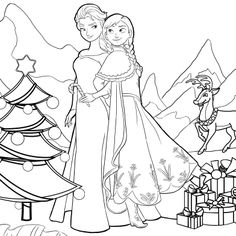 Frozen Christmas Coloring Pages Frozen Coloring Pages, Cartoon Coloring Pages, Christmas Coloring Pages, Printable Coloring Pages, Colouring Pages, Adult Coloring Pages, Doodle Coloring, Coloring Pages For Kids, Frozen Christmas