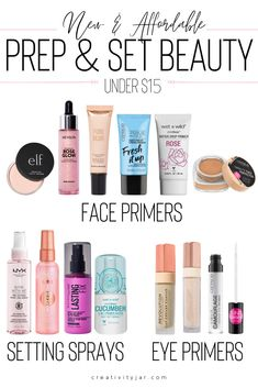 Looking for new affordable prep and set beauty products at the drugstore Check out these face primers setting sprays and eye primers all under 15 Best Drugstore Primer, Drugstore Makeup Dupes, Makeup Primer, Makeup Brushes, Best Drugstore Setting Spray, Makeup Palette, Best Hydrating Primer, Best Eyeshadow Primer, Best Eye Primer