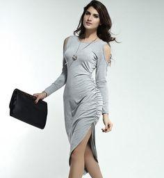 New Women Fashion Sexy Off-Shoulder Long Sleeve O-Neck Irregular Long Dress