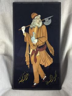Persian Painting Art Hand Painted Inlaid Wood Black Lacque