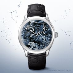 Van Cleef & Arpels Midnight Nuit Boréale timepiece, Extraordinary Dials™ collection #PoeticAstronomy #SIHH2014 -White gold case, 42mm diameter, crown set with an enamel cabochon -Dial: grisaille enamel, yellow gold dots -Self-winding mechanical movement -Black alligator bracelet, white gold folding buckle