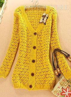 2013 autumn new fashion plus size sweater coat women loose out on the long Cardigan [ Knit Shirt, Knit Cardigan, Long Cardigan, Cardigans For Women, Coats For Women, Yellow Cardigan, Sweater Coats, Sweaters Knitted, Plus Size Sweaters