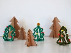 Pink Stripey Socks: Make mini Christmas trees from Pipe Cleaners and Cardboard