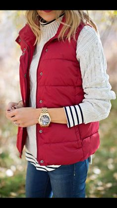 Cream basic layers with pop of color red puffer vest and red lips. Hello Fashion Blog style. Fall & Winter Fashion. Get this look from your Stitch Fix stylist! This post contains affiliate links through which I may be compensated
