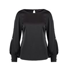 Black satin blouse with embellished sleeves   Dorothy Perkins