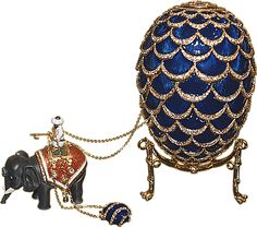 Gorgeous Blue Sapphire Faberge Imperial Egg with elephant.