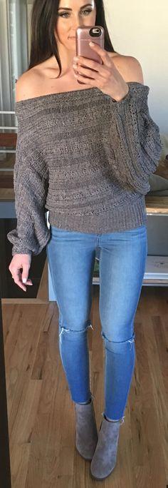 Grey Off Shoulder Top / Ripped Skinny Jeans / Grey Suede Booties