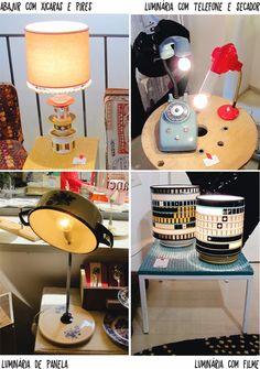Gostei da luminária feita com telefone antigo. [Decorviva! - Inspiração no tom da decoração]