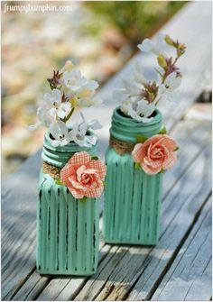 Flower Vases From Salt & Pepper Shakers~ flower vases from salt pepper shakers, container gardening, crafts, flowers, gardening, home decor, repurposing upcycling For this project, you'll need a set of glass salt & pepper shakers from the Dollar Tree, black chalkboard paint (spray or brush-on...either will work), acrylic paint (I used Americana's Sea Glass), paint brush, sand paper, hot glue gun & accents (ribbon, paper flowers, etc.).