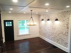 How to build a fake brick wall. the restorative house – Faux brick walls – Wall Panel Fake Brick Wall, Brick Wall Paneling, Faux Brick Panels, Faux Walls, Brick Accent Walls, White Brick Walls, Brick Feature Wall, Dining Room Feature Wall, Exposed Brick Walls