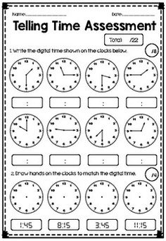 Use this 2 page Telling Time Test to assess students knowledge on: - Reading analogue time (quarter to, quarter past, half past, to the hour) - Writing analogue time (quarter to and quarter past) - Calculating elapsed time - Basic Time Facts (How many minutes in an hour, how many hours in a day etc..) - Elapsed time worded problems. Number Words Worksheets, Math Practice Worksheets, First Grade Worksheets, First Grade Math, Grade 2, Teaching Time, Teaching Math, Kindergarten Spelling Words, Time Word Problems