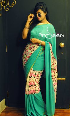 Andeem : retro, quirky saree from Bangladesh #indian #women #fashion #style #sari #saree #blouse #design #details