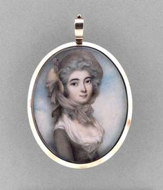 Miniature Portrait of a Woman Made Of Watercolor On Ivory, Rose Gold, Hair, Embossed Metallic Foil And Glass, By Andrew Plimer - English   c.1785