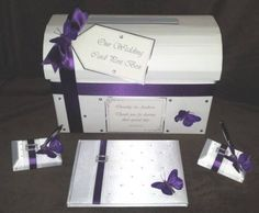 Cadburys Purple White Butterfly Wedding Chest Post Box with Matching Guest Book Pens Wedding Post Box, Wedding Gift Boxes, Wedding Guest Book, Wedding Cards, Wedding Ideas, Quirky Wedding, Handmade Wedding, Cadbury Purple Wedding, Wedding Stationery