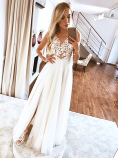 Simple A-Line V Neck Split White Tulle Wedding Dresses with Lace,White Prom Dresses Affordable Wedding Dresses, Tulle Wedding, Dream Wedding Dresses, Designer Wedding Dresses, Bling Wedding, Wedding White, Mermaid Wedding, Wedding Shoes, Wedding Rings