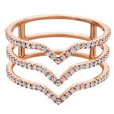 14k Pink Gold Diamond Fashion Ladies' Ring | Gabriel & Co NY | LR50897K45JJ