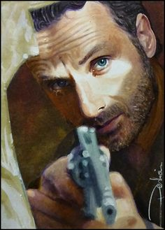Aim by DavidDeb on deviantART -actor Andrew Lincoln as Rick Grimes from The Walking Dead | First pinned to Celebrity Art board here... http://www.pinterest.com/fairbanksgrafix/celebrity-art/ #Drawing #Art #CelebrityArt