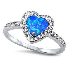 Sterling Silver Blue Opal Heart Ring Set in Cz Stones Sz 5-10 104697123456