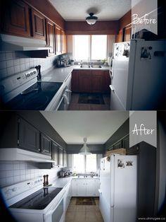 """DIY Painting Wood Cabinets {Kitchen Cupboard Reno: Part Two}"" Refurbished Cabinets, Refurbished Furniture, Diy Furniture, Kitchen Inspiration, Kitchen Ideas, Painting Wood Cabinets, Diy Ideas, Decor Ideas, Wood Kitchen Cabinets"
