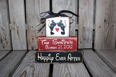 Mickey Minnie Mouse Disney Wedding Family Personalized Established Name Monogram wood Block Set sign christmas anniverysary birthday gift on Etsy, $19.95