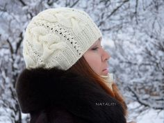 hat,Slouchy Beanie, Knitted Beanie Cap Lace, Womans Winter Beanie, Textured Winter Hat,fashion accessory, winter hat knit hat warm hat http://www.livemaster.ru/item/8554473-aksessuary-komplekt-ingreed-ecru