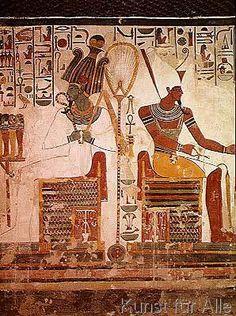 19th Dynasty Egyptian. The Gods Osiris and Atum, from the Tomb of Nefertari, New Kingdom