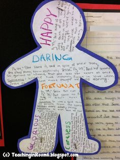 Creating an inferred character sketch of a book character. Uses direct quotes from the text and background schema.