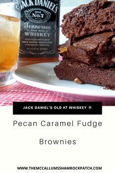 Jack Daniel\'s Caramel Brownies are rich and fudgy brownies with a hint of Jack Daniel\'s old #7 whiskey Ⓡ Jack Daniel\'s Pecan Caramel Fudge Brownies are the quintessential adult dessert. Do these brownies combine pecans, thick caramel, dark chocolate, and one of our favorites adult beverages Jack Daniel\'s old #7 whiskey Ⓡ What could be more fun and tasty combination for your Adult guests? Sweets Recipes, Fun Desserts, Delicious Desserts, Yummy Food, Tasty, Caramel Brownies, Fudgy Brownies, Blondie Brownies, Homemade Biscuits