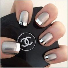 Nail art of all kinds is having a major moment right now. What happens when you combine the best metallic nail polish with the hottest nail trends? Silver Nail Art, Metallic Nail Polish, Elegant Nail Designs, Toe Nail Designs, Nagellack Design, Cotton Candy Nails, Wedding Nails Design, Manicure E Pedicure, Chrome Nails